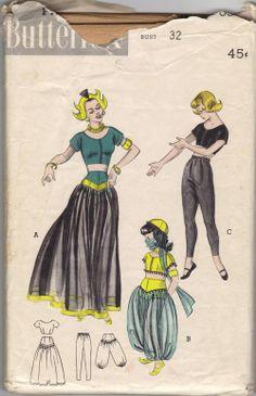 Butterick 6344 Dancing Girl, Turkish Girl, Ballet Dancer costumes