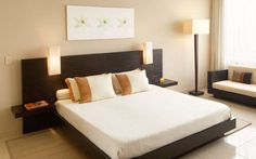 Platform Bed Frame Simple Hotel Bedroom Inspiring With Twin Platform Bed Cool Dark Brown Furniture Minimalist Rectangle Hedboard Detail And Foam White Mattress King Size Platform Bed, Stylish Bedroom Furniture On Cool Platform Beds: Furniture