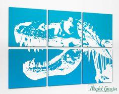 Kids Dinosaur Art - Large Trex Painting - Large Wall Art in Customizable Colors