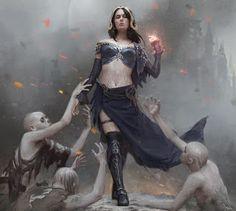 Liliana, Defiant Necromancer by Karla Ortiz Fantasy Women, Fantasy Rpg, Fantasy Girl, Fantasy Artwork, High Fantasy, Medieval Fantasy, Fantasy Inspiration, Character Inspiration, Character Art