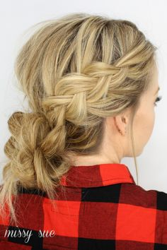 Dutch Braids and Low Messy Bun