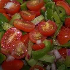 """""""Oh, yum! Even the children who 'hate' raw tomatoes asked for seconds!"""" – busymom3 (Green Pepper Tomato Salad)"""