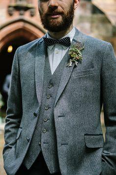 Bohemian Outdoor Tipi Wedding Tweed Bow Tie Groom Beard  http://www.sarahjanesphotography.co.uk/