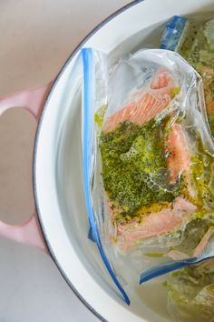 Perhaps after the egg, the best food to exhibit the true triumph of sous-vide cooking is salmon. The already-tender fish is rendered nearly translucent when cooked in the low, steady heat of a water bath. But how many of us actually have the equipment on hand to make this for a weeknight dinner? Thanks to this technique from Diane Morgan, it's probably more of us than you think.