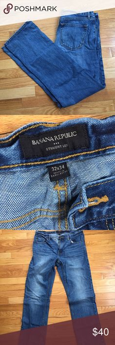 MEN'S Banana Republic Straight leg jeans 32x34 Lightly worn, men's BR jeans in great condition. Size 32/34. Dark(ish) wash. No imperfections what so ever. Straight leg style. Banana Republic Jeans Straight