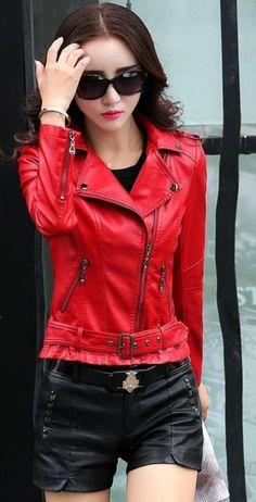 Women PU Leather Jacekts Short Slim Motorcycle Leather Ladies Jackets Coat