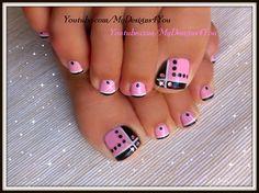Toenail Art Design | Pink and Black Toes ♥ Черно-Розовый Педикюр