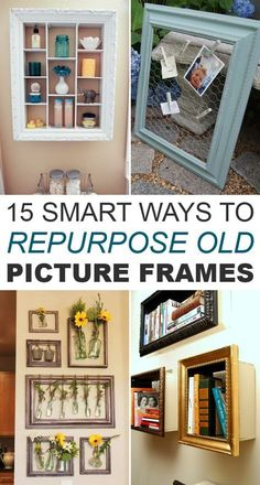 Smart Ways to Repurpose Old Picture Frames Interesting ideas how you can repurpose those old frames into useful items for every part of your home.Interesting ideas how you can repurpose those old frames into useful items for every part of your home. Picture Frame Projects, Old Picture Frames, Old Frames, Frames Ideas, Diy Picture Frame Crafts, Painted Picture Frames, Picture Frame Decor, Decorate Picture Frames, Empty Frames