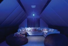 Home Theater Room with a projector in the Attic