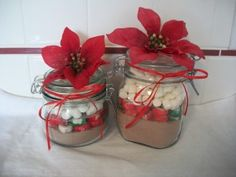 Quick Christmas Gift Craft: Hot Cocoa Jars  This is Day 12 of Twleve Days of Gifts Kids Can Make! Whew!!!