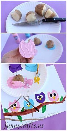 Potato Print Owl Craft for Children - Crafty Morgen - Juna Rosenfeld - . - Potato Print Owl Craft for Children – Crafty Tomorrow – Juna Rosenfeld – - Kids Crafts, Owl Crafts, Animal Crafts, Summer Crafts, Toddler Crafts, Crafts To Do, Projects For Kids, Diy For Kids, Art Projects