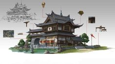 Discover the art of Joker Chen, a freelance artist working for the game industry in Xiamen, China. Japan Architecture, Chinese Architecture, Environment Concept Art, Environment Design, Building Concept, Building Design, Fantasy Landscape, Landscape Art, Japanese Buildings