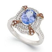 14k White Gold and 14k Rose Gold Ring, Tanzanite (1-3/4 ct. t.w.) and Diamond (3/8 ct. t.w.) Oval Ring