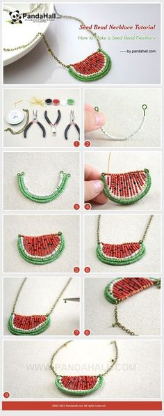 Tutorial: Cómo hacer un collar sandía de abalorios - Jewelry Making Tutorial-How to Make a Seed Bead Watermelon Necklace