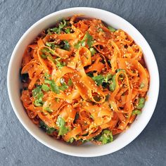 This Ribboned Carrot Salad is Perfect for Work Lunch Boxes: This simple ribboned carrot salad might not be the first thing to jump off the pages of Louisa Shafia's cookbook The New Persian Kitchen, but skimming past it would make for a small tragedy.