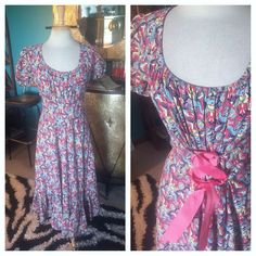 Vintage 1940s Dress Pink Blue Novelty Print M L Peasant Rockabilly Swing 40s #TeaDress