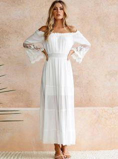 1c8f61ba77d Sexy Off Shoulder Lace Boho Cotton Maxi Dress