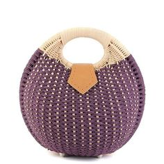 Round Shape Cane Weaving Tote Bag (280 MXN) ❤ liked on Polyvore featuring bags, handbags, tote bags, weave handbag, round purse, purple tote, purple handbags and tote bag purse