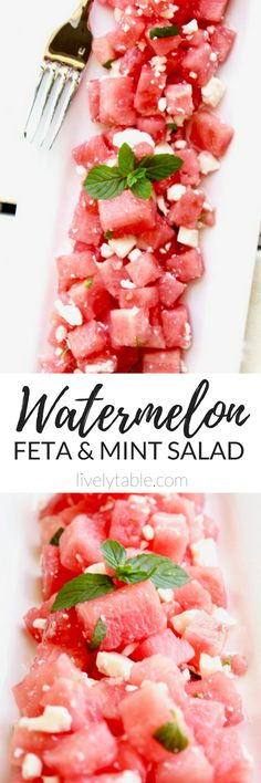 This Watermelon, Feta and Mint Salad is refreshing, super easy to make, and healthy - the perfect summer side dish for all of your cookouts this season! (gluten-free, vegetarian) | via livelytable.com