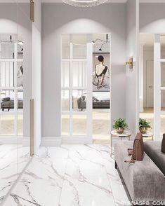 trendy home interior classic foyers Home Entrance Decor, Entryway Decor, White Interior Design, Home Interior, Flur Design, Hallway Designs, Living Room Flooring, Trendy Home, Home Decor Kitchen