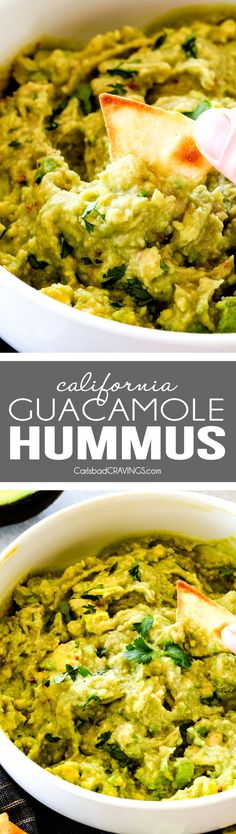 This creamy Guacamole Hummus is SO addicting and only 3 ingredients! Its crazy flavorful, healthy and super easy!