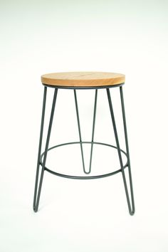 "Hairpin leg stool 18"" tall. White oak and steel hand crafted in house at Hairpinlegs.com"