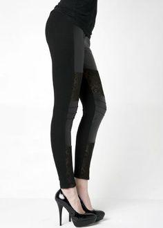 315864b99bf84e Fashion Mic Womens Lace and Rhinestone Faux Leather Black Leggings (S/M,  Side Rhinestone) at Amazon Women's Clothing store: