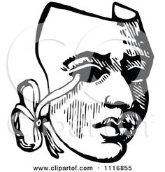 Clipart Of A Retro Vintage Black And White Drama Theater Mask - Royalty Free Vector Illustration by Prawny Vintage