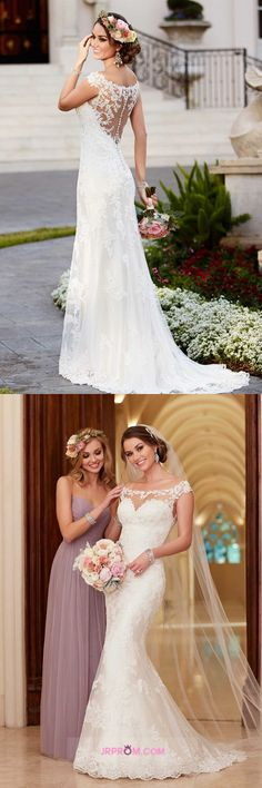 Mermaid Wedding Dresses Off The Shoulder With Applique Tulle Sweep Train Item Code:#JRP4HZ92SH