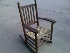 Here's my patio rocker I reclaimed. Couldn't repair the wicker bottom so I created a rope weave and refinished in pecan stain. Fun Idle time!