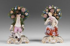 pair of late 19th century porcelain figurines Bocage decorated peasant firms Edme Samson of Paris in the 18th century style of Chelsea gold anchor period.