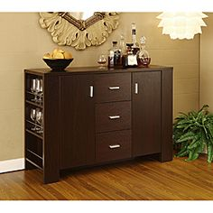 This dining buffet features a modern design with three spacious drawers, two cabinets with four adjustable shelves and pocket shelves with metal guards. The warm and inviting cappuccino finish of this buffet compliments any range of home furnishing.