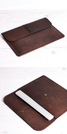 """Dark brown """"crazy horse"""" leather case fits MacBook Air 11"""" or MacBook 12"""" or anything you need for on the go. #leatherwork #case #macbook #leather"""