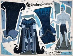 Hades paper doll, anyone? Part of my Disney Villains Collection! Download at Paper Dolls by Cory on Facebook!