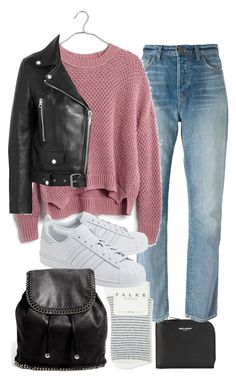 """Untitled #11352"" by minimalmanhattan on Polyvore featuring Yves Saint Laurent, J Brand, Madewell, Falke, adidas Originals, STELLA McCARTNEY and Acne Studios"