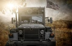 Photo wallpaper full metal jacket, US army truck, photoshop, composite
