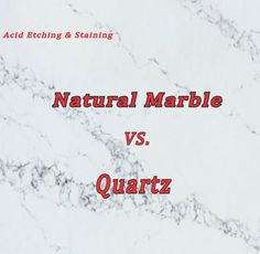 VIDEO: Acid etching is a big concern for marble countertop owners. Coffee, ketchup, lemon, mustard, olive oil and wine can do real damage to natural stone. Quartz countertops are a great way to get the natural marble look for your kitchen with added stain and scratch resistance.