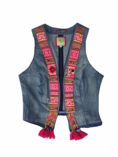 This Pin was discovered by Esr Denim Waistcoat, Denim Vests, Kurta Designs, Blouse Designs, Crop Top Designs, Afghan Dresses, Short Shirts, Indian Designer Wear, Jacket Style