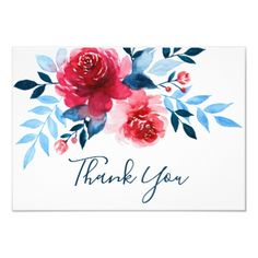Watercolor Red Flowers Wedding Thank You Card - cards custom invitation card design marriage party Watercolor Red, Watercolor Cards, Watercolor Flowers, Watercolor Wedding, Simple Watercolor, Red Wedding Flowers, Red Flowers, Tropical Flowers, Thank You Card Design