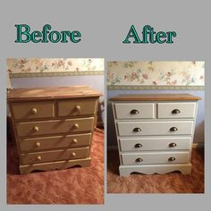 A transformed outdated chest of drawers, brought up to date now it's painted