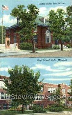 Rolla, MO, Missouri, Post Office & High School