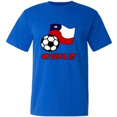 Image shows the Chilean Flag with a #soccer or football in the front and the word CHILE in red letters. Lots of fun in sharing your culture, heritage and ancestry while supporting Team #Chile. $21.99 http://ink.flagnation.com Design by @AuntieShoe