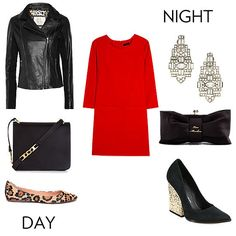 Simple red shift dress- easy to transition from casual to formal or vice versa (I mean, this goes for all simply cut dresses really, but I always love leopard with Look Fashion, Fashion Outfits, Womens Fashion, Mode Style, Simple Outfits, Couture, Get Dressed, Passion For Fashion, Dress To Impress