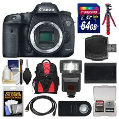 "Canon EOS 7D Mark II GPS Digital SLR Camera Body with 64GB Card + Backpack + Flash + Battery + Tripod + Remote + Kit. KIT INCLUDES 12 PRODUCTS -- All BRAND NEW Items with all Manufacturer-supplied Accessories + Full USA Warranties:. [1] Canon EOS 7D Mark II GPS Digital SLR Camera Body + [2] Transcend 64GB SDXC 300x Card + [3] Spare LP-E6 Battery +. [4] PD Laptop/Tablet DSLR Backpack + [5] Precision Design DSLR300 Flash + [6] Xit 12"" Flexible Tripod +. [7] RC-6 Shutter Remote Control + [8]…"