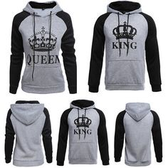 079b598ae1e3 Details about Lover Couple Matching King And Queen Hoodie Jumper Sweater  Tops Sweatshirts Tee