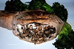 Impress company with the easy stuffed pork chops. Big Thick Pork Chops Stuffed with Rosemary, Mushrooms and Goat Cheese