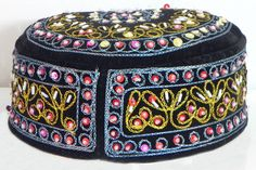 Black Muslim Prayer Cap with Bead and Sequin Embroidery (Velvet))