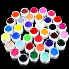 36 Pots Pure Color Decor UV Gel Nail Art Tips Shiny Cover Extension Manicure New | eBay
