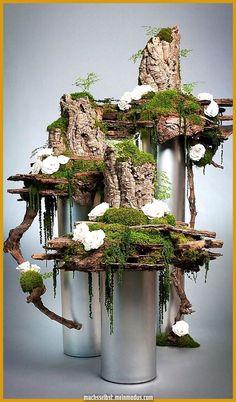 Preserved Flower Display by Donaldo Radovich - Deko Blumen - Deco Floral, Arte Floral, Floral Design, Moss Garden, Garden Art, Garden Design, Fleur Design, Moss Art, Modern Flower Arrangements