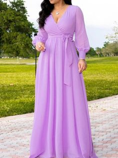 V-Neck Floor-Length Long Sleeve A-Line Women's Dress Long African Dresses, Latest African Fashion Dresses, Latest Fashion, Fashion Today, Cheap Fashion, Trendy Fashion, Fashion Shoes, Women's Fashion, Fashion Outfits